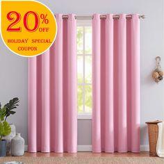 "NATWIN Pink Blackout Curtain Panels for Girls Room Darkening Linen Stripe Texture Window Draperies Kids Bedroom 63"" 2 Panels"
