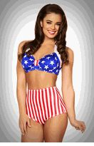 American Pinup - 2 PC. High Waist Pinup Swimsuit Set in Patriotic Stars & Stripes Print  $50