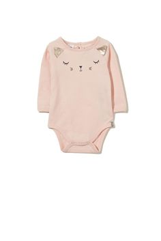 Long sleeve bubbysuit featuring fun animal print and ears.