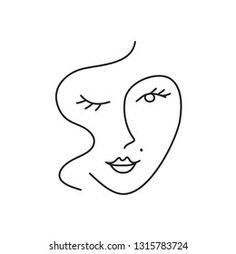 Abstract Simple Woman Face Continuous Line Stock Vector (Royalty Free) 1315783724