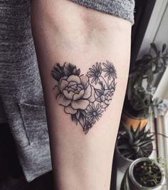 Heart Shaped Rose Tattoo Design