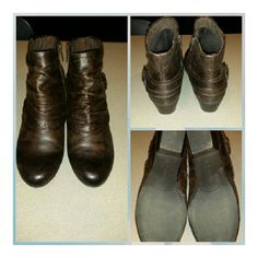 Booties Cute dark brown ankle boots. Wore one time. Kim Rogers Shoes Ankle Boots & Booties