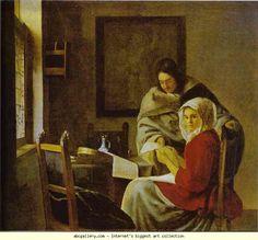 Jan Vermeer. Girl Interrupted at Her Music. Olga's Gallery.