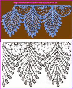 Crochet Lace - booklet in the public domain from Madame Hardouin from the Antique Pattern Library Crochet Boarders, Crochet Edging Patterns, Crochet Lace Edging, Crochet Leaves, Doily Patterns, Crochet Chart, Thread Crochet, Crochet Doilies, Crochet Flowers