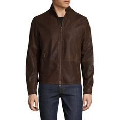 John Varvatos Collection Men's Leather Slim Fit Racer Jacket - Size 50 (21,695 MXN) ❤ liked on Polyvore featuring men's fashion, men's clothing, men's outerwear, men's jackets, dark brown, mens leather jackets, mens slim fit outerwear, mens jackets, mens zip up jackets and mens short sleeve jacket