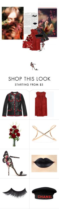 """""""neither do i"""" by la-rosy ❤ liked on Polyvore featuring Gucci, Zara, Nearly Natural, Balenciaga, Roberto Marroni, Sophia Webster, Chanel and reddress"""