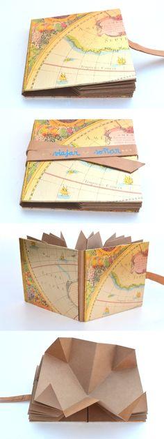 ~~~Nuevos libros para artistas~~~ Personalizados con palabras en dorado u otros colores Encuadernación Plegada – Cubierta de papel metalizado demapas antiguos – Interior plegado de 4 h…