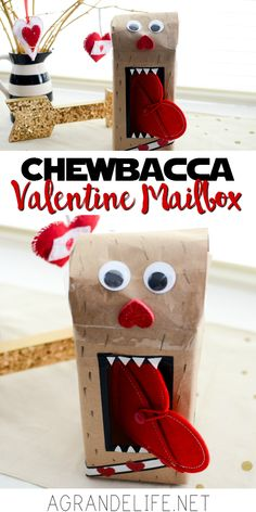 """Parents everywhere are scrambling to """"help"""" their child make a Valentine Mailbox. With some kraft paper and washi tape, you can make this Chewbacca Valentine Mailbox in less than 15 minutes. Creative Play, Creative Home, Amazing Crafts, Chewbacca, Imaginative Play, Valentine Day Crafts, Kraft Paper, Orange Juice, Crafts To Do"""