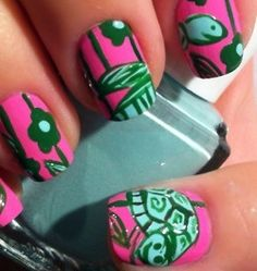 lilly turtle nails for delta zeta! Manicure E Pedicure, Mani Pedi, Turtle Nails, Lily Nails, Nailart, Nail File, How To Do Nails, Beauty Nails, Little Things