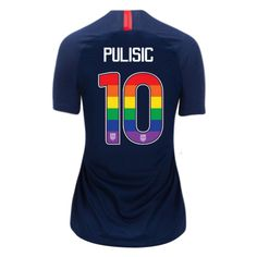 2018 2019 Women s Christian Pulisic Navy Blue USA Jersey Rainbow Numbers  For Sale. Soccer ... 5579734e4