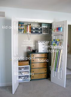 Organizing closets.  Shown is the craft closet (this is nice!)  ...I like the Mud Room Closet tips too!