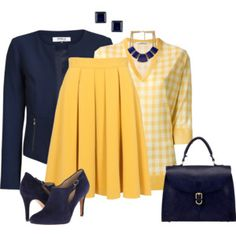 Pleated Skirt Blue and Yellow