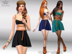 The Sims Resource: Skater dress with belt by EsyraM • Sims 4 Downloads