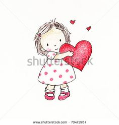 cute little girl holding a red heart -  Valentine illustration by Mariia Sats, via ShutterStock