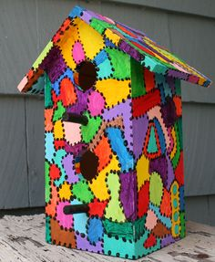 Image detail for -Jan's Crazy Quilt Painted Birdhouse Decorative Bird Houses, Bird Houses Painted, Bird Houses Diy, Painted Birdhouses, Fairy Houses, Birdhouse Craft, Birdhouse Designs, Birdhouse Ideas, Bird House Plans