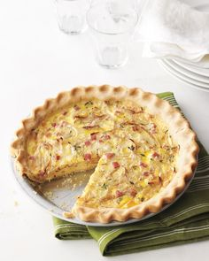 Ham-and-Swiss Quiche - Martha Stewart Recipes: I cheated and used a frozen pastry crust. My quiche took about 35 mins to set fully but turned out great! The leftovers heated up really well, even in the micro. -kw