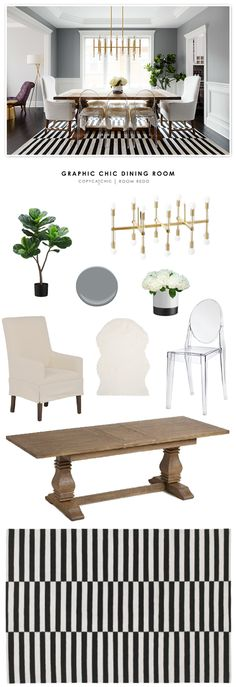 A graphic, chic dining room by Homepolish recreated for less by Copy Cat Chic  by @audreycdyer