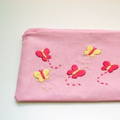 Hand Embroidered Butterfly Purse in Pink