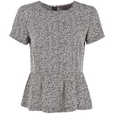 Great Plains Dizzy Tweed Peplum Top - Black & Milky (650 ARS) ❤ liked on Polyvore featuring tops, shirts, t-shirts, blouses, print peplum top, pattern tops, print shirts, print tops and peplum tops