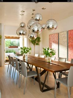 ball lights!!! #diningroom tables, chairs, chandeliers, pendant light, ceiling design, wallpaper, mirrors, window treatments, flooring, #interiordesign banquette dining, breakfast table, round dining table, #decorating