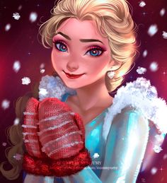 """yumynum: """" Elsa: Thank you Anna This is an ironic drawing, Anna has given her sister a gloves without thinking much ( and she thinks that's adorable ) haha This drawing contain: -2h of video process. -Step by step (x9) -Clean lineart of the final..."""