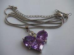 "Purple Heart CZ Cubic Zirconia Pendant Necklace Silver-Toned 16.8"""