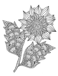 Free Flower coloring page from Art Love Passion, May 2015 #flower #coloringpage #zentangle