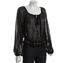 Halston Heritage black dotted silk chiffon smocked peasant top