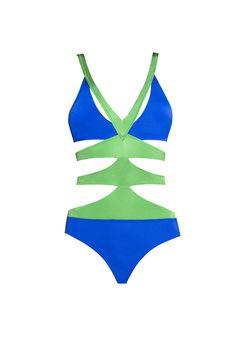 Moeva London Zoe Blue/Green Strappy Cut- Out Monokini