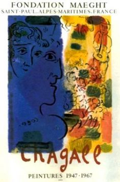 Le Profil Bleu by Chagall Marc vintage poster