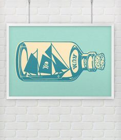 Pirate Ship in a Bottle Vintage Nursery Kids by themedhomedecor, $24.99