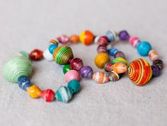 Here is a craft I made today, paper bead bracelets! Take all different sizes of paper, roll them up, glue it to glaze, stick on elastic, and there you have a beautiful bracelet! Make sure to tell your friends you made the  beads, too.