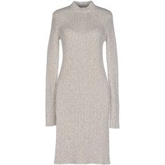 Céline Knee-length Dress ($760) ❤ liked on Polyvore featuring dresses, light grey, long sleeve turtleneck dress, knee-length dresses, long sleeve turtleneck, wool turtleneck and wool dress