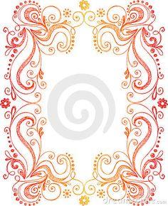 Hand-Drawn Sketchy Doodle Flowers and Vines Frame Border Vector Illustration