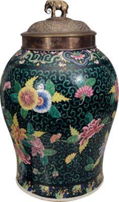 Chinese ceramic Famille Noir Ginger Jar, c. 1880 $2525