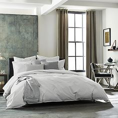 Transform your bedroom into a relaxing retreat with the simple, yet stylish Kenneth Cole Escape Duvet Cover. Crafted of fine soft cotton in an array of soothing colors, the urbane bedding brings a cool, casual look to any room's décor.