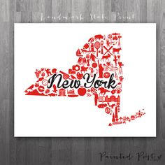 New York City New York Landmark State Giclée Print  by PaintedPost, $15.00 #paintedpoststudio - St John University - Red Storm - NYC- What a great and memorable gift for graduation, sorority, hostess, and best friend gifts! Also perfect for dorm decor! :)