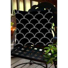 Thumbprintz Art Deco Circles Black and white Indoor/Outdoor Pillow