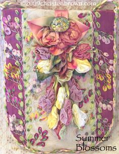 Silk Ribbon Embroidery | The pieced sections are embellished with silk ribbon embroidery. These ...