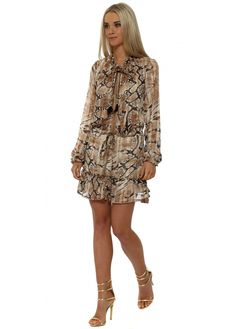 JUST M PARIS Brown Snakeskin Print Chiffon Ruffle Mini Dress