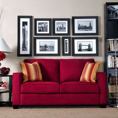 This Portfolio Home Furnishings Madi sofa features transitional squared arms and high-performance crimson red microfiber upholstery. The Portfolio Madi sofa is stain-resistant and includes two striped decorative pillows.