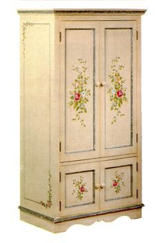 Superbe Hand Painted Armoire/Media Cabinet