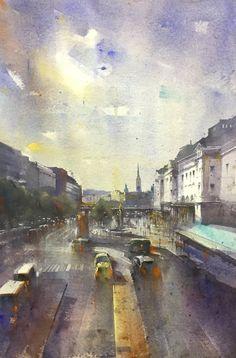 Railway stadion (Stockholm) Stockholm, Watercolor, Painting, Art, Watercolor Painting, Painting Art, Paintings, Kunst, Paint
