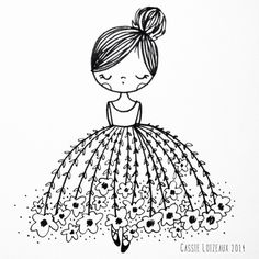 Flower Dress Dreamer. Day 59 of yearlong 30 minute a day sketchbook project. Cassie Loizeaux
