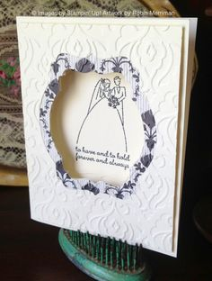 3D window Wedding card created with the Deco Label Framelits from Stampin' Up! #stampinup #wedding #diy #cards