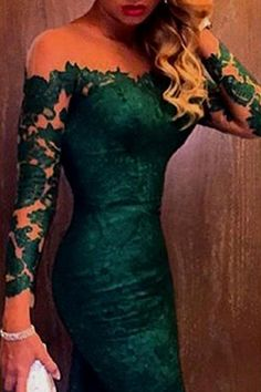Charming Off-the-shoulder Dark Green Mermaid Lace Prom Dress with Long Sleeves