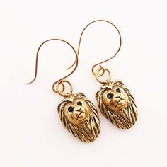Animal Earrings - Lion -Yellow Bronze - keja jewelry