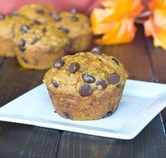Pumpkin Chocolate Chip muffins - Healthy version of homemade pumpkin muffins with lots of chocolate chips.
