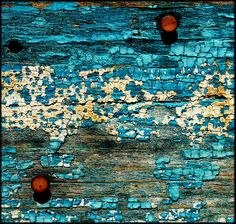 blue paint, rusted nails. There's that turquoise with touch of red again...