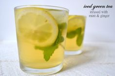Heart of Gold: Iced Green Tea Infused with Fresh Mint and Ginger